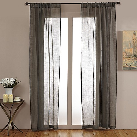 Open Weave Linen Sheer 84-Inch Rod Pocket Window Curtain Panel in Grey