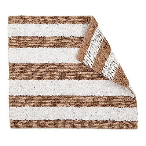 Izod 174 24 Inch X 17 Inch Reversible Striped Bath Rug In Tan
