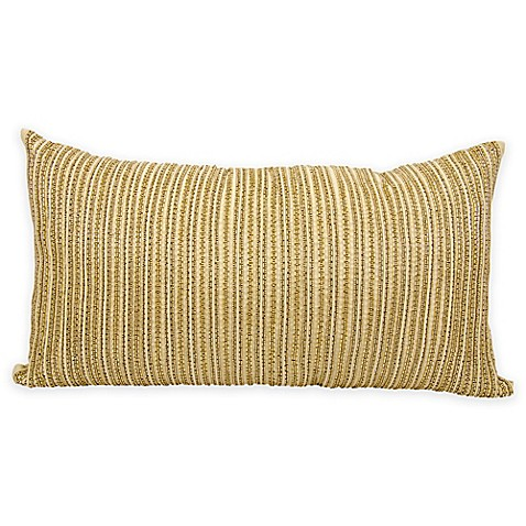 Gold Rectangle Throw Pillow : Buy Mina Victory Luminescence Thin Stripes Throw Rectangle Pillow in Gold from Bed Bath & Beyond