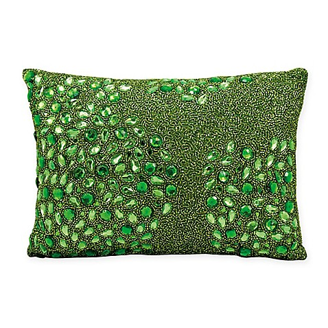 Green Rectangle Throw Pillow : Buy Mina Victory Luminescence Fully Beaded Rectangle Throw Pillow in Apple Green from Bed Bath ...