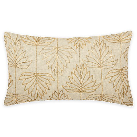 Buy Mina Victory Luminescence Lily Leaves Oblong Throw Pillow in Gold from Bed Bath & Beyond