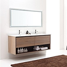 image of Avanity Sonoma 63-Inch Wall-Mount Double Vanity Base in Restored Khaki