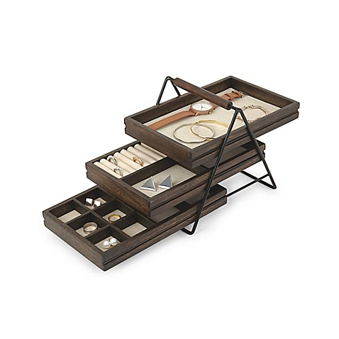 umbra terrace jewelry tray in black walnut bed bath