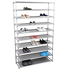 image of home basics 10tier plastic and fabric wide shoe rack in grey