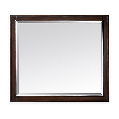 buy avanity madison 36 inch x 32 inch rectangular mirror in light espresso fr. Black Bedroom Furniture Sets. Home Design Ideas