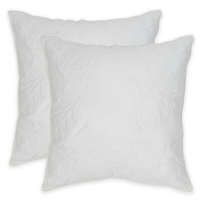 White Quilted Decorative Pillows : Safavieh Quilted Sunflower Square Throw Pillows in White (Set of 2) - Bed Bath & Beyond