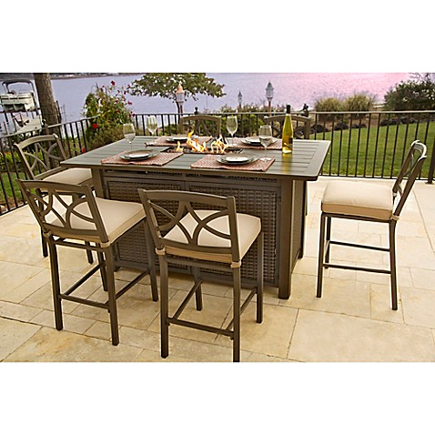 Agio Davenport 5 Piece Outdoor Bar Height Fire Pit Set