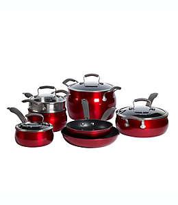 Batería de cocina de aluminio antiadherente Epicurious®, en rojo, 11 piezas