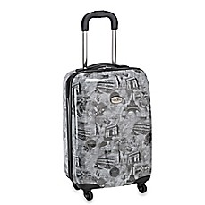 image of Geoffrey Beene Overland World Destination 20-Inch Hardcase Carry-On Spinner Suitcase in Black/Multi