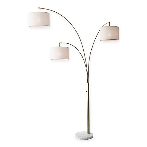 adesso bowery 3 arm arc floor lamp bed bath beyond. Black Bedroom Furniture Sets. Home Design Ideas