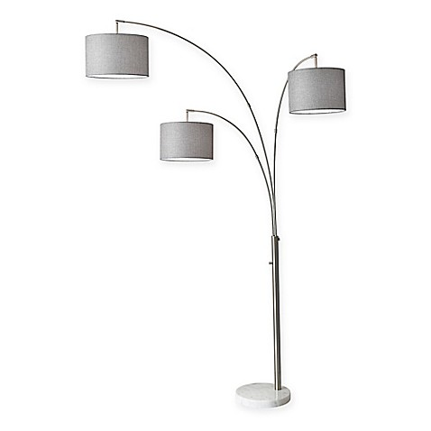 adesso bowery 3 arm arc floor lamp in brushed steel with linen shades. Black Bedroom Furniture Sets. Home Design Ideas