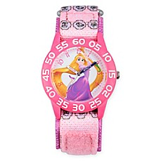 image of Disney® Rapunzel Children's Long Hair Time Teacher Watch in Pink Plastic w/Pink Nylon Strap