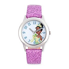 image of Disney® The Princess and The Frog Children's Tiana Watch in Stainless Steel w/Leather Strap