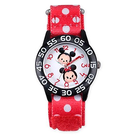Buy disney tsum tsum children 39 s mickey and minnie time teacher watch in black plastic w nylon for Tsum tsum watch
