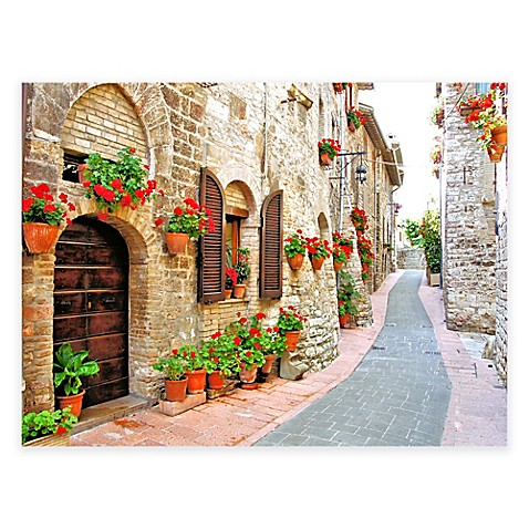 Geranium Stroll All Weather Outdoor Canvas Wall Art Bed