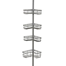 Image Of India Ink Tension Corner Pole Shower Caddy In Satin Nickel