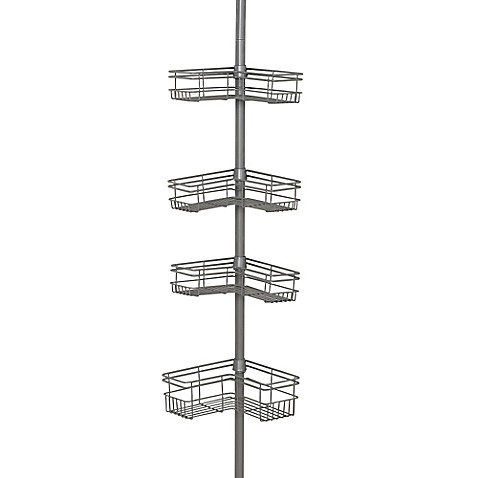 Zenna Homeu0026reg; Tension Corner Pole Shower Caddy In Satin Nickel