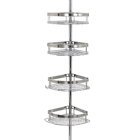 Zenna home tension corner pole shower caddy in chrome for A bathroom item that starts with p