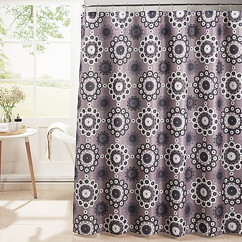 Moroccan Tile Shower Curtain with Rings - Bed Bath & Beyond