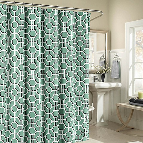 Buy Lenox Cotton Shower Curtain In Teal From Bed Bath Beyond
