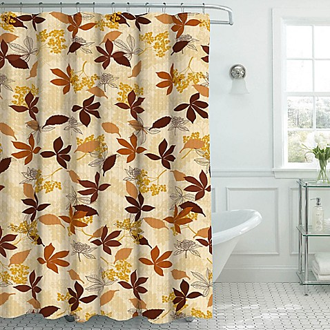 Blowing Leaves Shower Curtain With Hooks In Chocolate