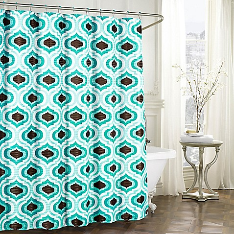 Faux Linen Textured Shower Curtain With Rings In Turquoise