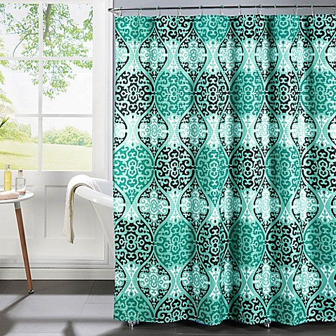 Elsa Shower Curtain With Rings In Aqua Black Bed Bath Beyond