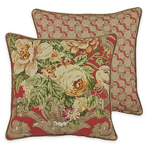Rose Tree Decorative Pillows : Rose Tree Durham Square Throw Pillow in Coral - Bed Bath & Beyond