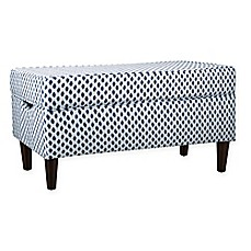 image of Skyline Furniture Katy Storage Bench in Sahara Midnight White Flax