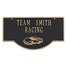 image of Whitehall Products 15.25-Inch Two-Sided Hanging Garage Racecar Plaque