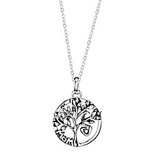 image of Shine Sterling Silver 18-Inch Chain Mom Family Tree Round Pendant Necklace