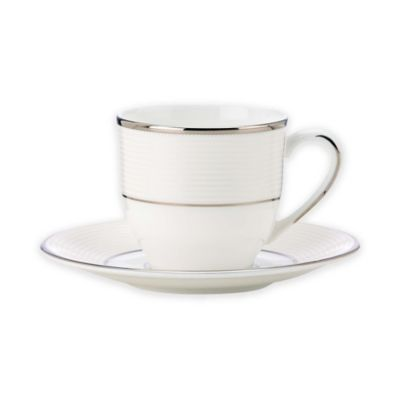 image of Lenox® Opal Innocence™ Stripe Espresso Cup and Saucer