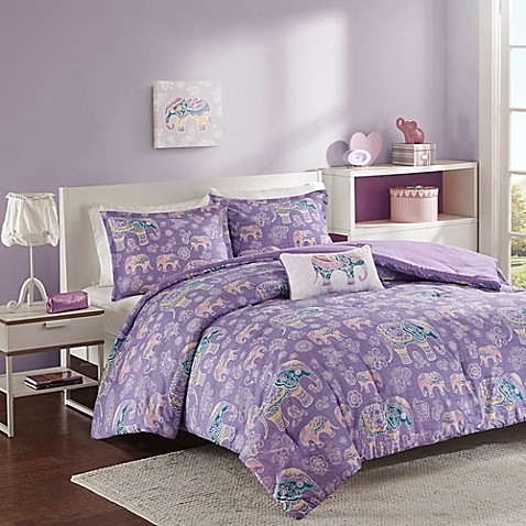 buy mi zone elly full queen 4 piece comforter set in purple from bed bath beyond. Black Bedroom Furniture Sets. Home Design Ideas