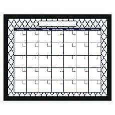 image of mezzanotte quatrefoil dry erase blank calendar in blue