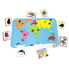 image of Teach My Toddler Continents and Animals World Map 30-Piece Floor Puzzle