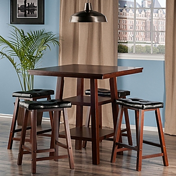 Image Of The Winsome Trading Orlando 5 Piece High Table And Cushion Saddle  Seat Stool