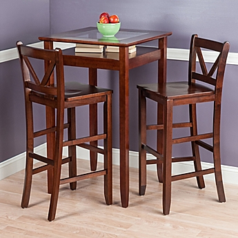 Image Of Winsome Trading Halo 3 Piece Pub Table Set In Walnut