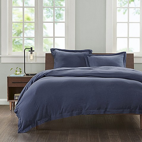 buy ink ivy cotton jersey knit twin twin xl duvet cover set in navy from bed bath beyond. Black Bedroom Furniture Sets. Home Design Ideas