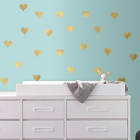 Gold heart peel and stick wall decals bed bath beyond for Cute gold heart wall decals