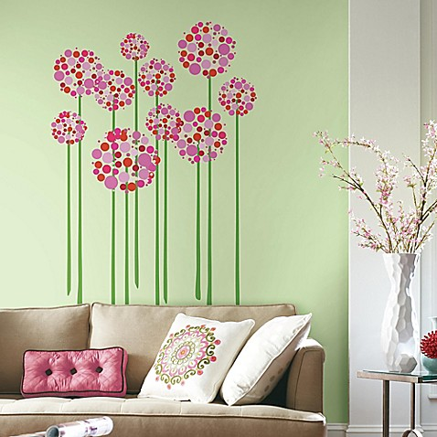 Bright Floral Dot Peel And Stick Giant Wall Decals Bed
