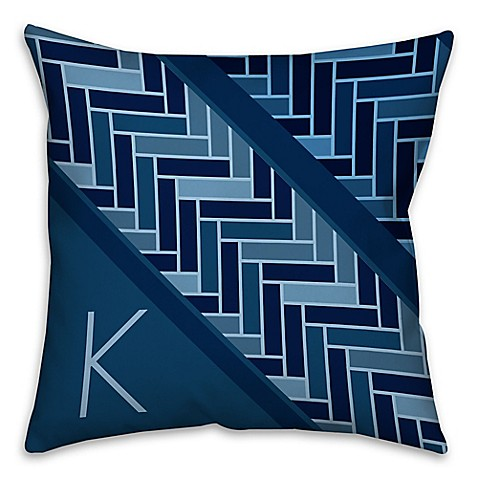 Square Throw Pillow Pattern : Tiled Pattern Square Throw Pillow in Navy - Bed Bath & Beyond