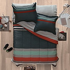 image of Aéropostale Banded Stripe Reversible Comforter Set in Charcoal