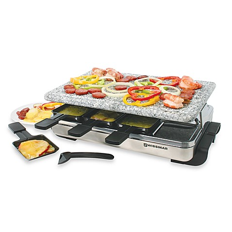 swissmar 8 person stelvio raclette party grill with granite stone bed bath beyond. Black Bedroom Furniture Sets. Home Design Ideas
