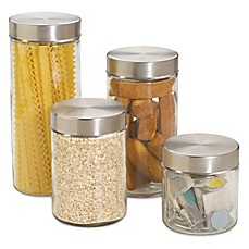 image of Home Basics™ 4-Piece Glass Canister Set with Stainless Steel Lids