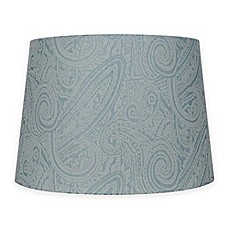 Image Of Patterned Hardback Fabric Lamp Shade In Teal