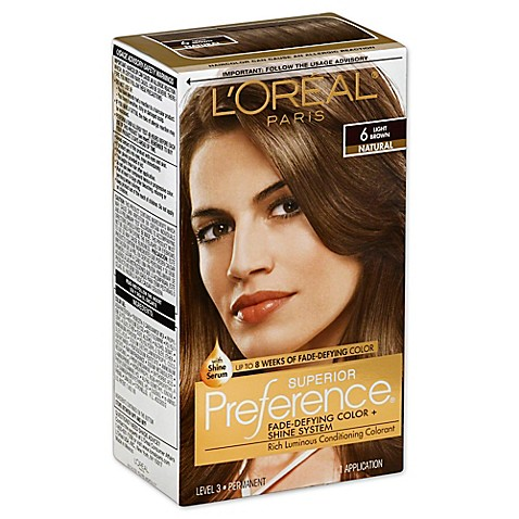 l oréal superior preference fade defying color and shine in 6 light brown from bed bath