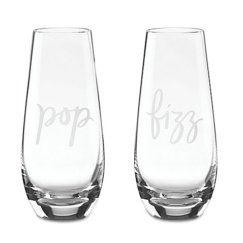 "kate spade new york Two of a Kind™ ""Pop"" and ""Fizz"" Stemless Champagne Glasses (Set of 2)"