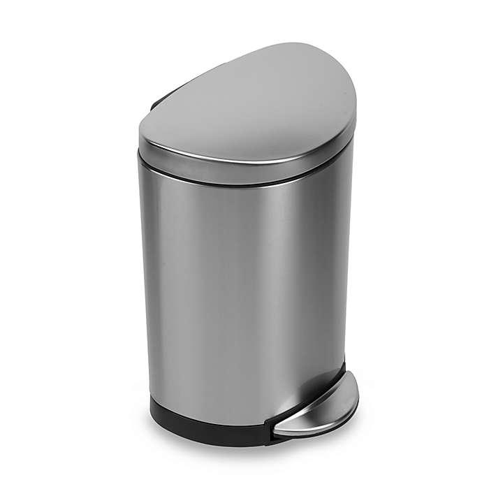 Bote de basura de acero inoxidable Simplehuman® semiredondo con pedal, 10 L
