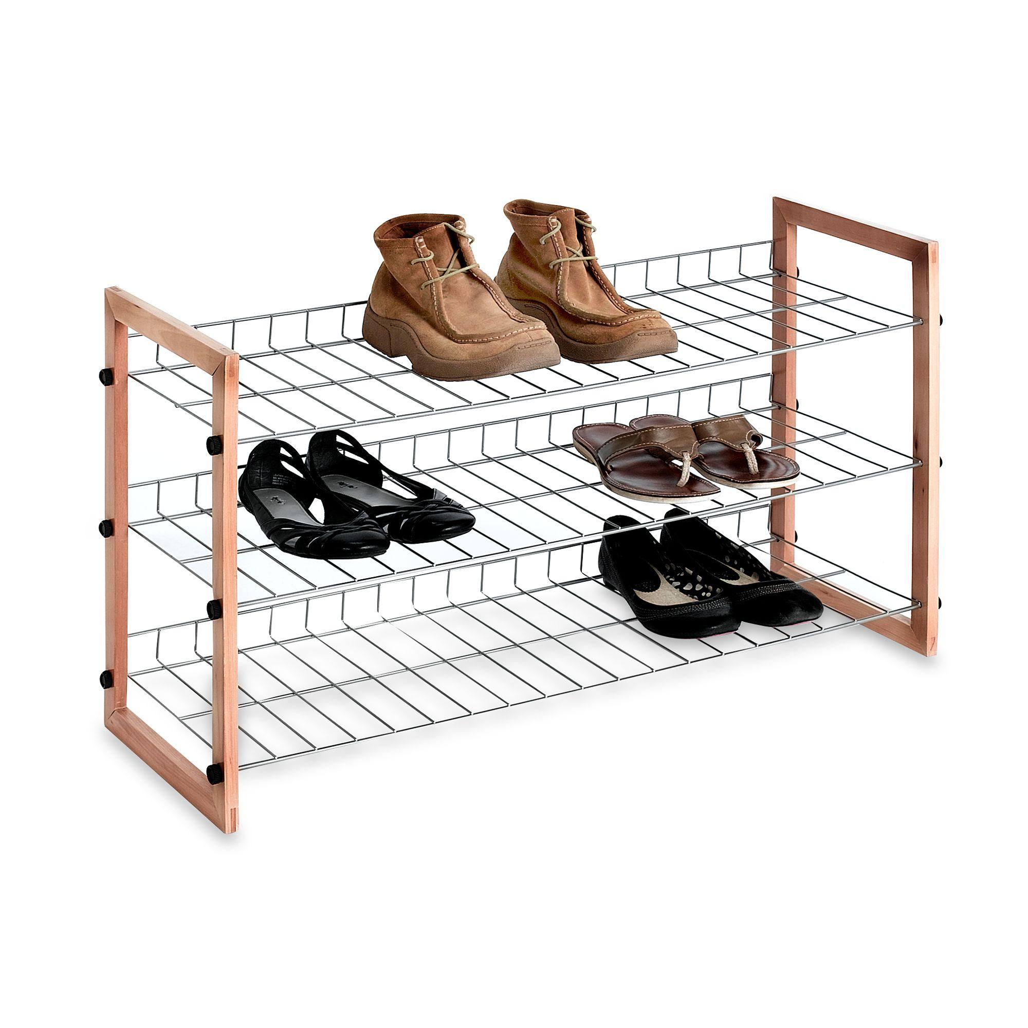3 shelf wooden metal shoe rack bed bath beyond 3 shelf wooden metal shoe rack