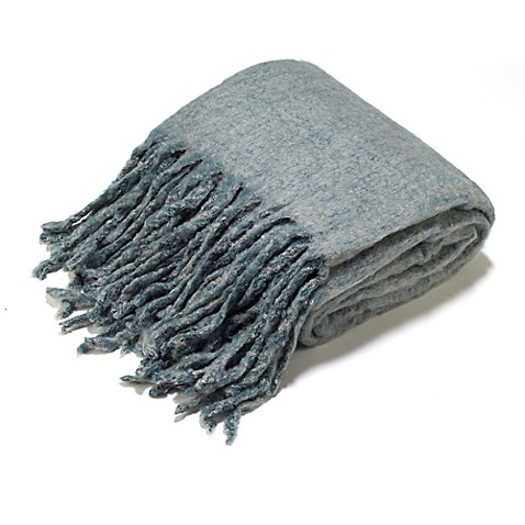 Buy aura reversible wool blend throw blanket in mineral for Mineral wool blanket